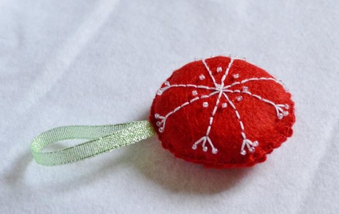 red snowflake christmas decoration