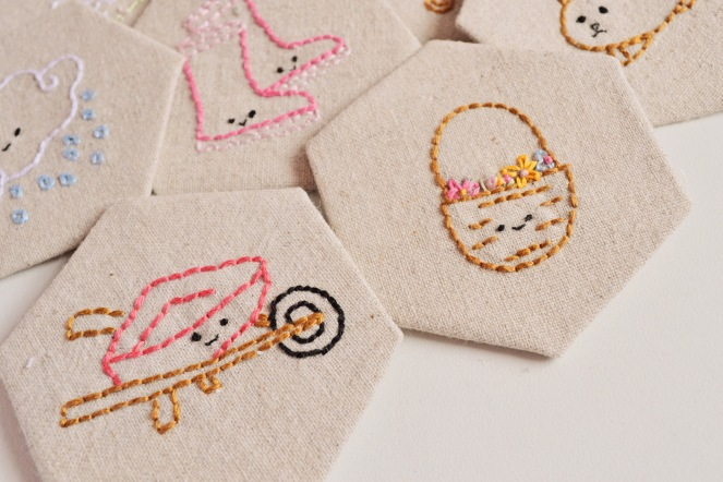 Embroidered Hexagons: Spring Stitching