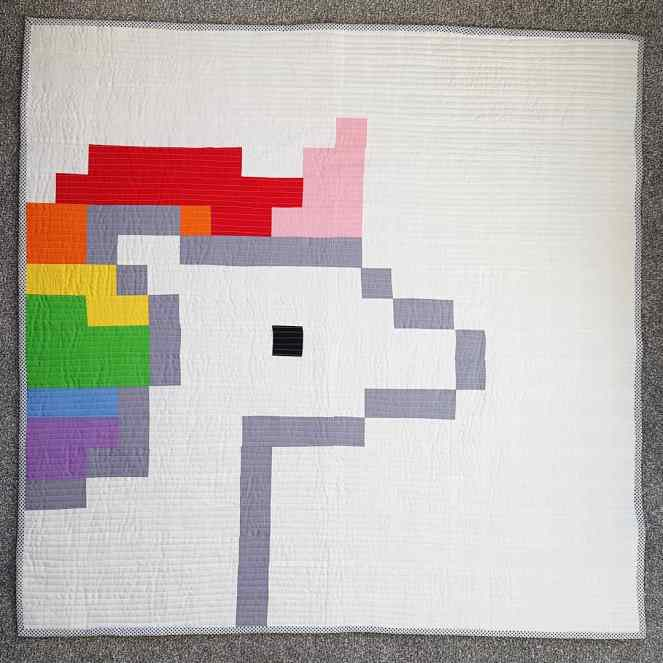 Pixelated Unicorn Quilt