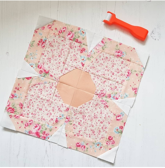 swedish bloom block with my new seam roller