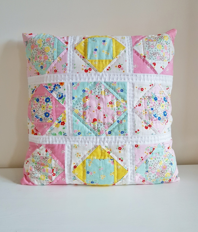 Bluebirds on Roses Economy Block Cushion