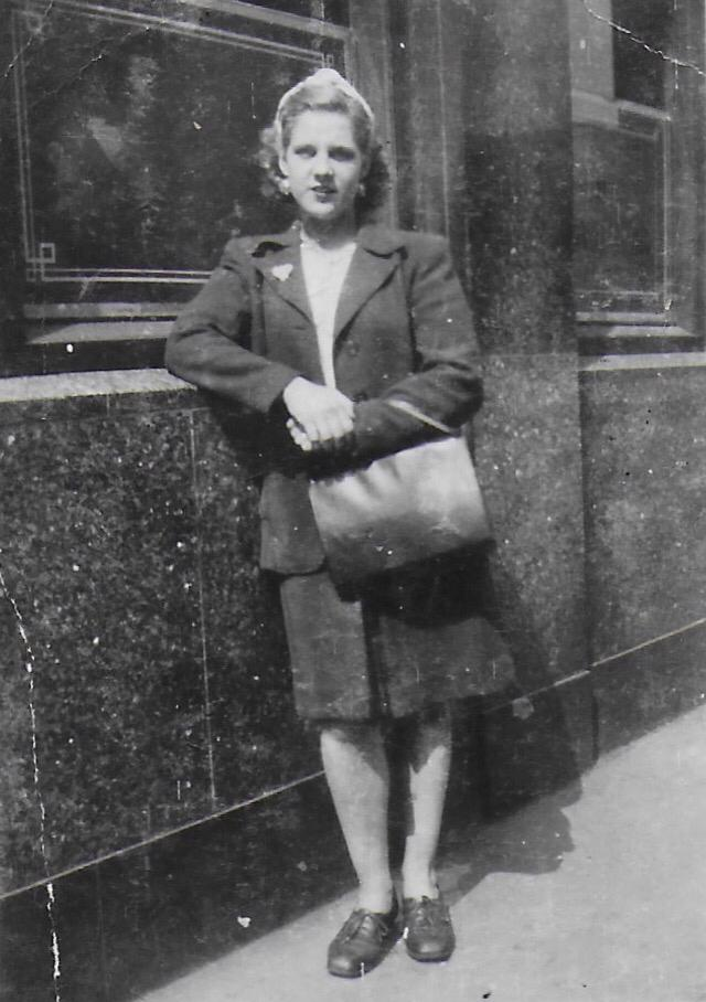 Grandma off to work at the uniform factory WWII