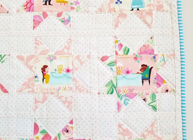 Beauty and the Beast Sawtooth star mini quilt
